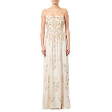 Buy Adrianna Papell Beaded Long Dress, Pearl Online at johnlewis.com