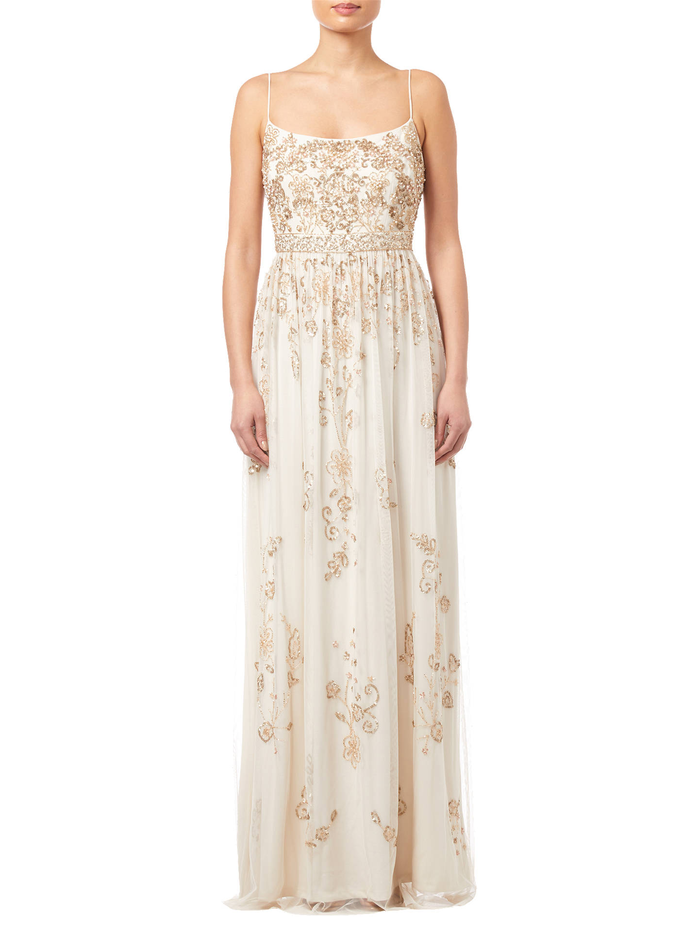 BuyAdrianna Papell Beaded Long Dress, Pearl, 10 Online at johnlewis.com