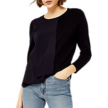 Buy Warehouse Woven Mix Jumper, Navy Online at johnlewis.com