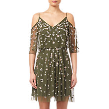 Buy Adrianna Papell Beaded Short Dress, Olive Online at johnlewis.com