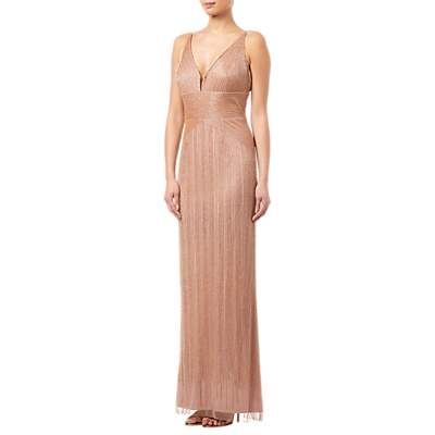 Adrianna Papell Beaded Long Dress, Rose Gold