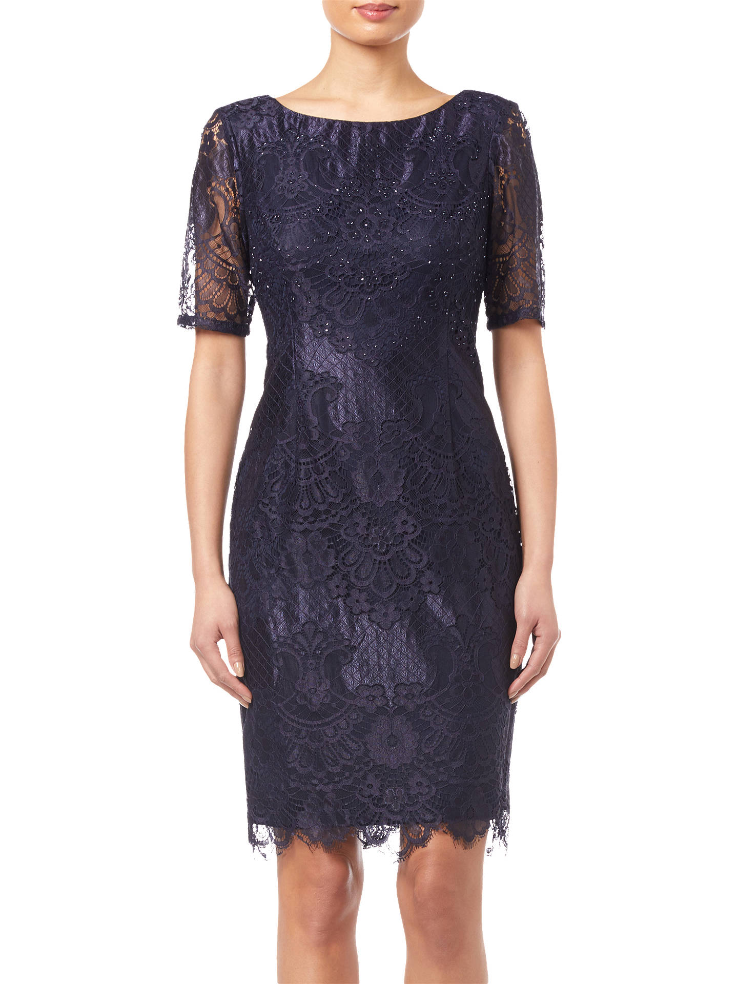 BuyAdrianna Papell Lace Dress, Navy, 8 Online at johnlewis.com