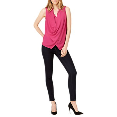 Damsel in a Dress Evelina Cowl Lace Back Blouse, Magenta