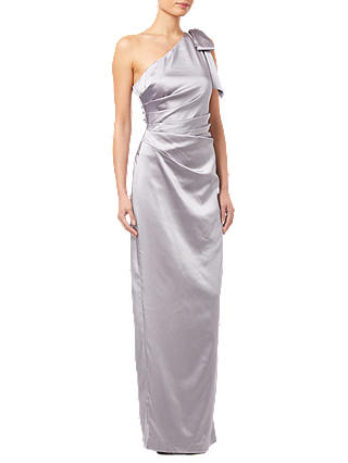 Buy Adrianna Papell Satin Long Dress, Silver, 8 Online at johnlewis.com