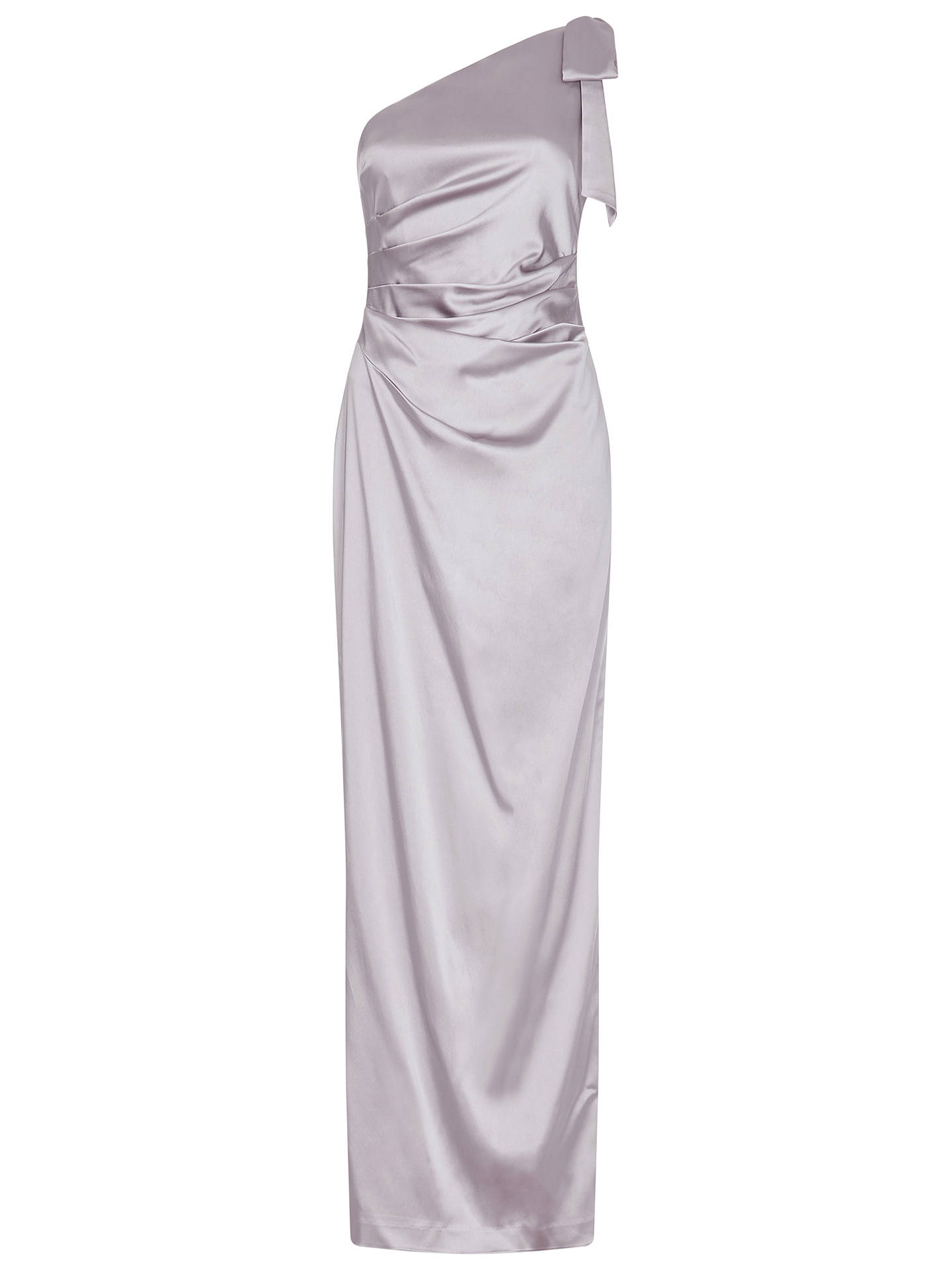 BuyAdrianna Papell Satin Long Dress, Silver, 8 Online at johnlewis.com