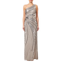 Buy Adrianna Papell Beaded Column Gown, Platinum Online at johnlewis.com