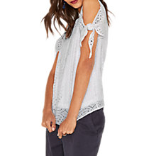 Buy Oasis Lace Tie Sleeve Top, White Online at johnlewis.com