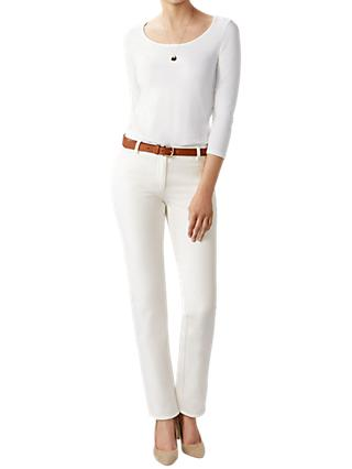 Pure Collection Cotton Stretch Straight Leg Jeans, Soft White