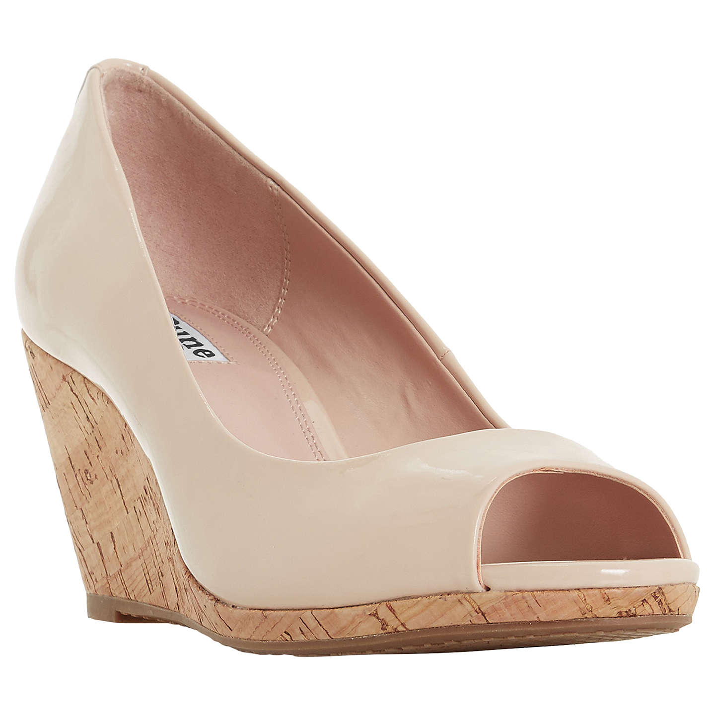 BuyDune Caydence Peep Toe Wedge Heel Sandals, Nude, 3 Online at johnlewis.com