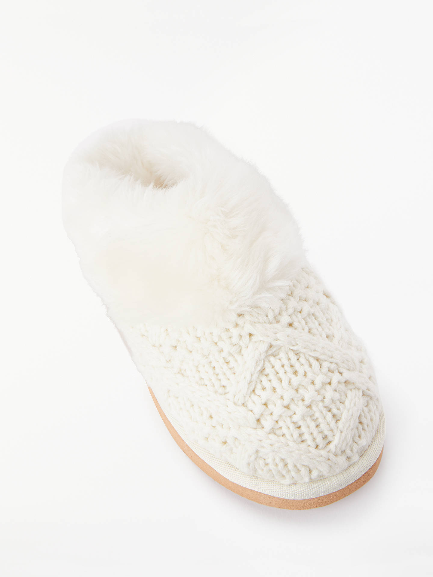 John Lewis Partners Knitted Cable Knit Slippers Cream At John