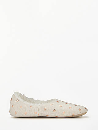 Buy John Lewis & Partners Foil Star Slippers, Oatmeal, 5-6 Online at johnlewis.com