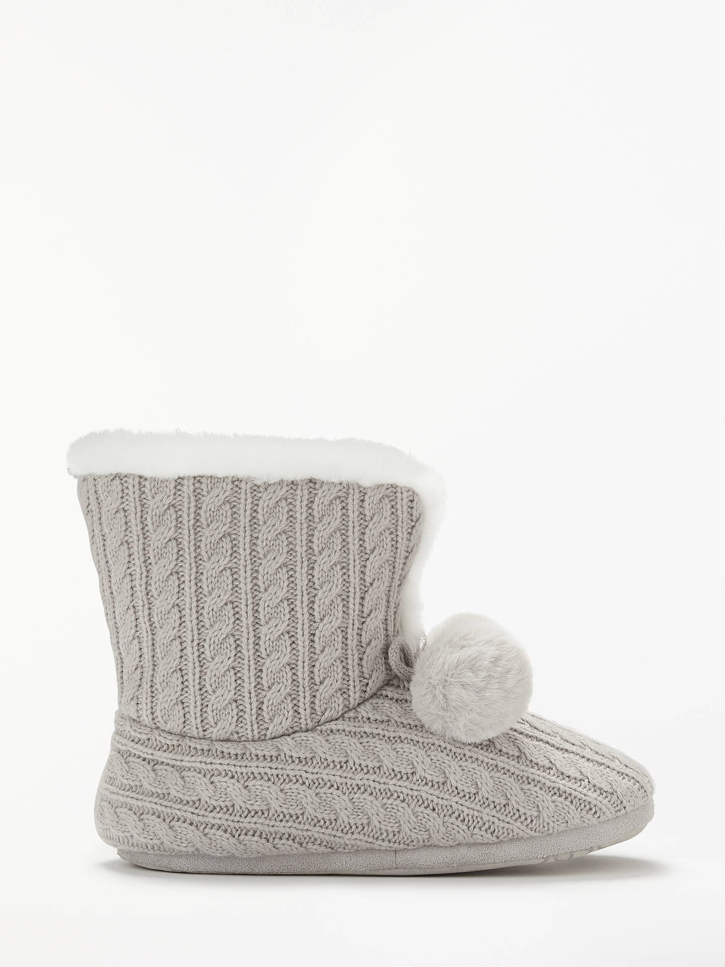 5ae2b014ecc Buy John Lewis   Partners Cable Knit Boot Slippers