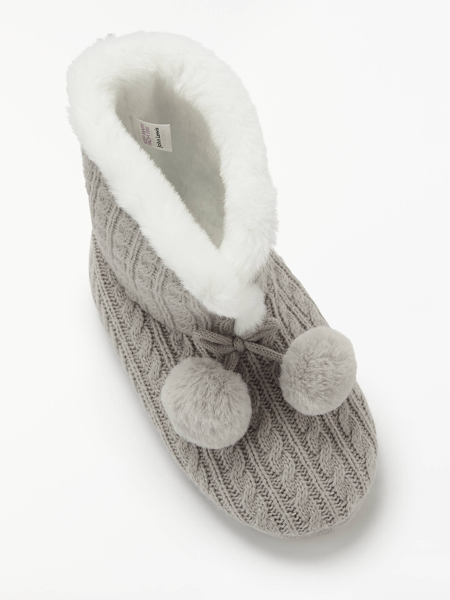 John Lewis Partners Cable Knit Boot Slippers Grey At John Lewis
