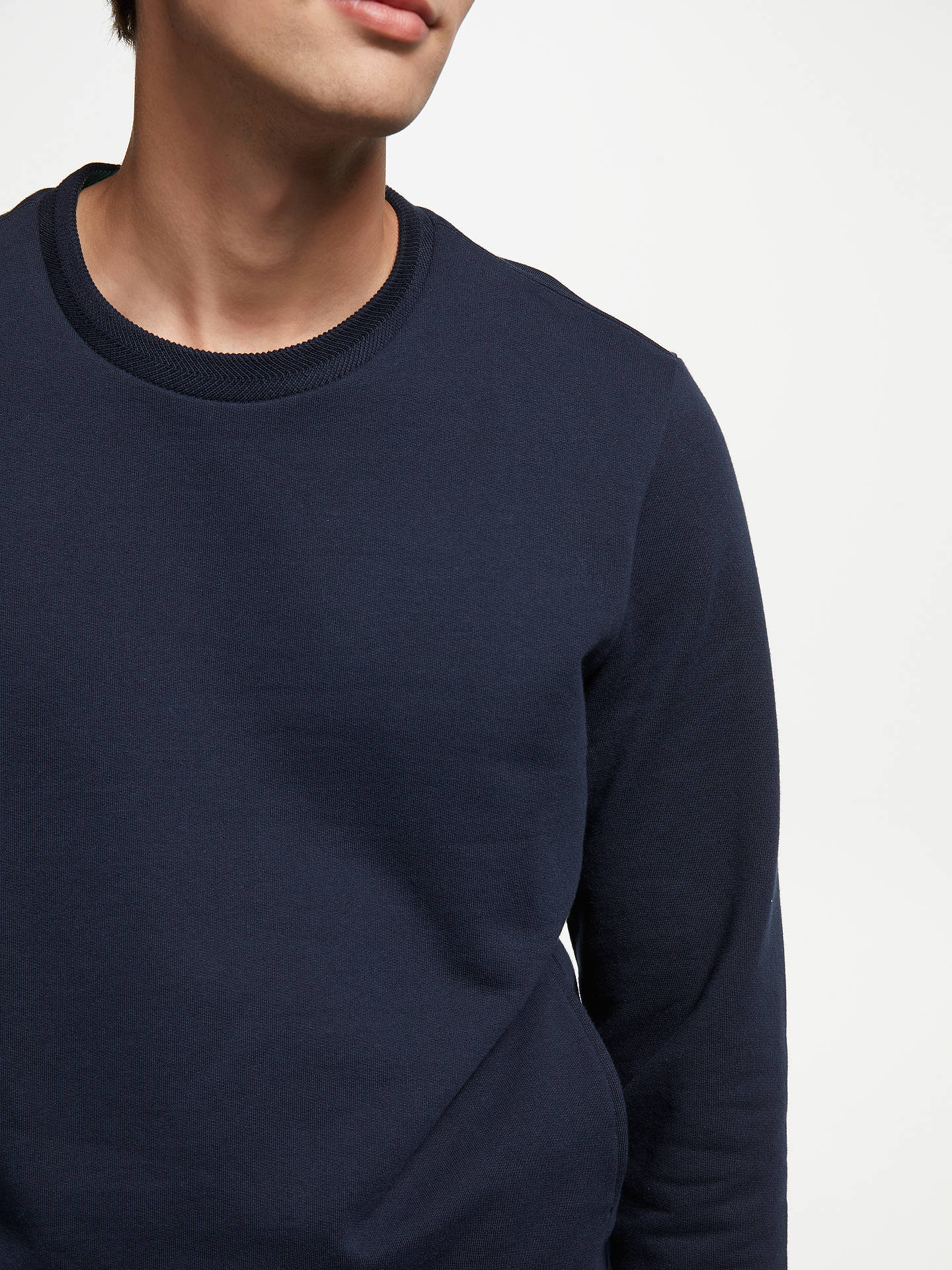 Buy John Lewis & Partners Crew Neck Sweatshirt, Navy, S Online at johnlewis.com