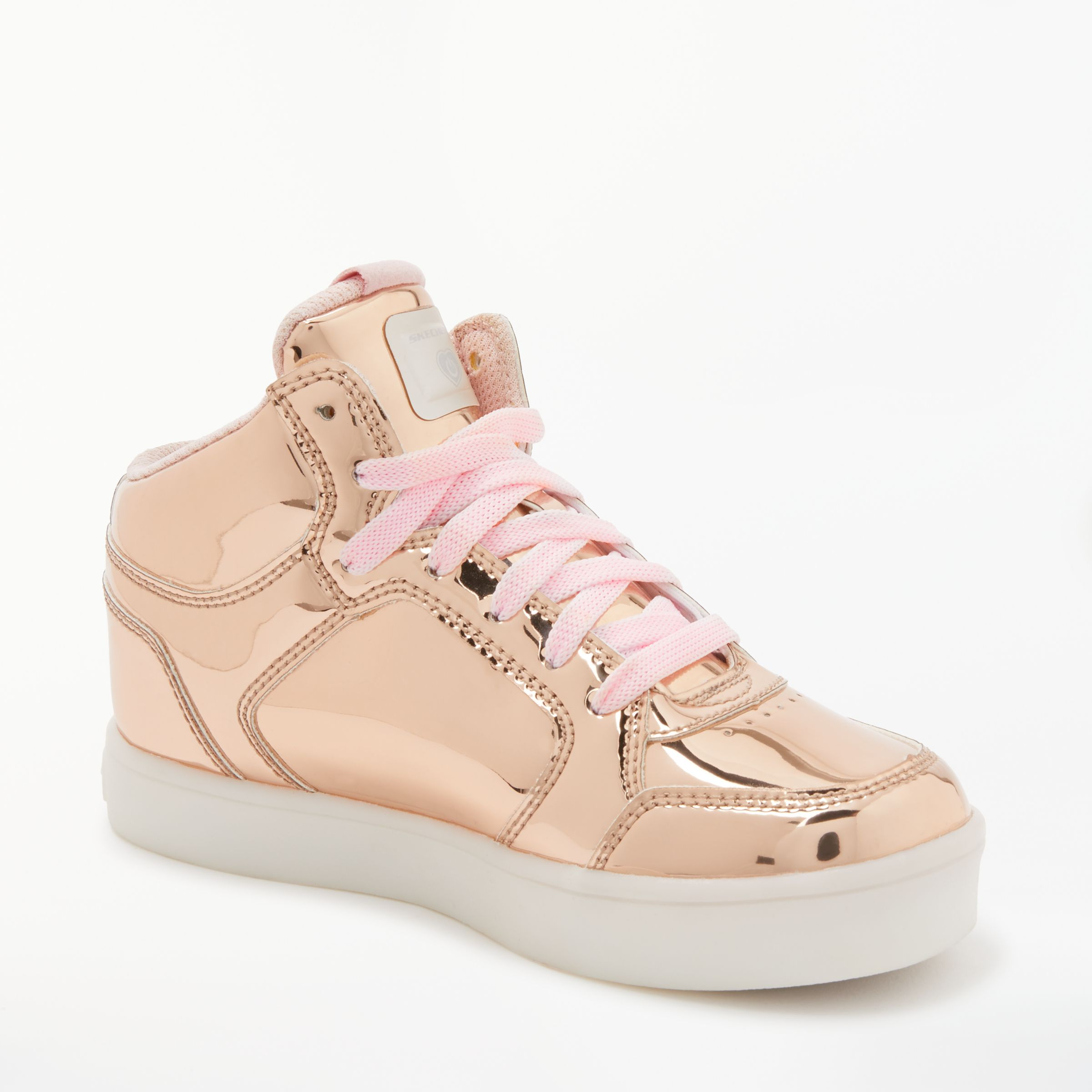 Skechers Energy Lights High Top Trainers Rose Gold