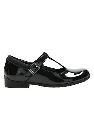 Clarks Children's Jamie Sky T-Bar School Shoes, Black Patent