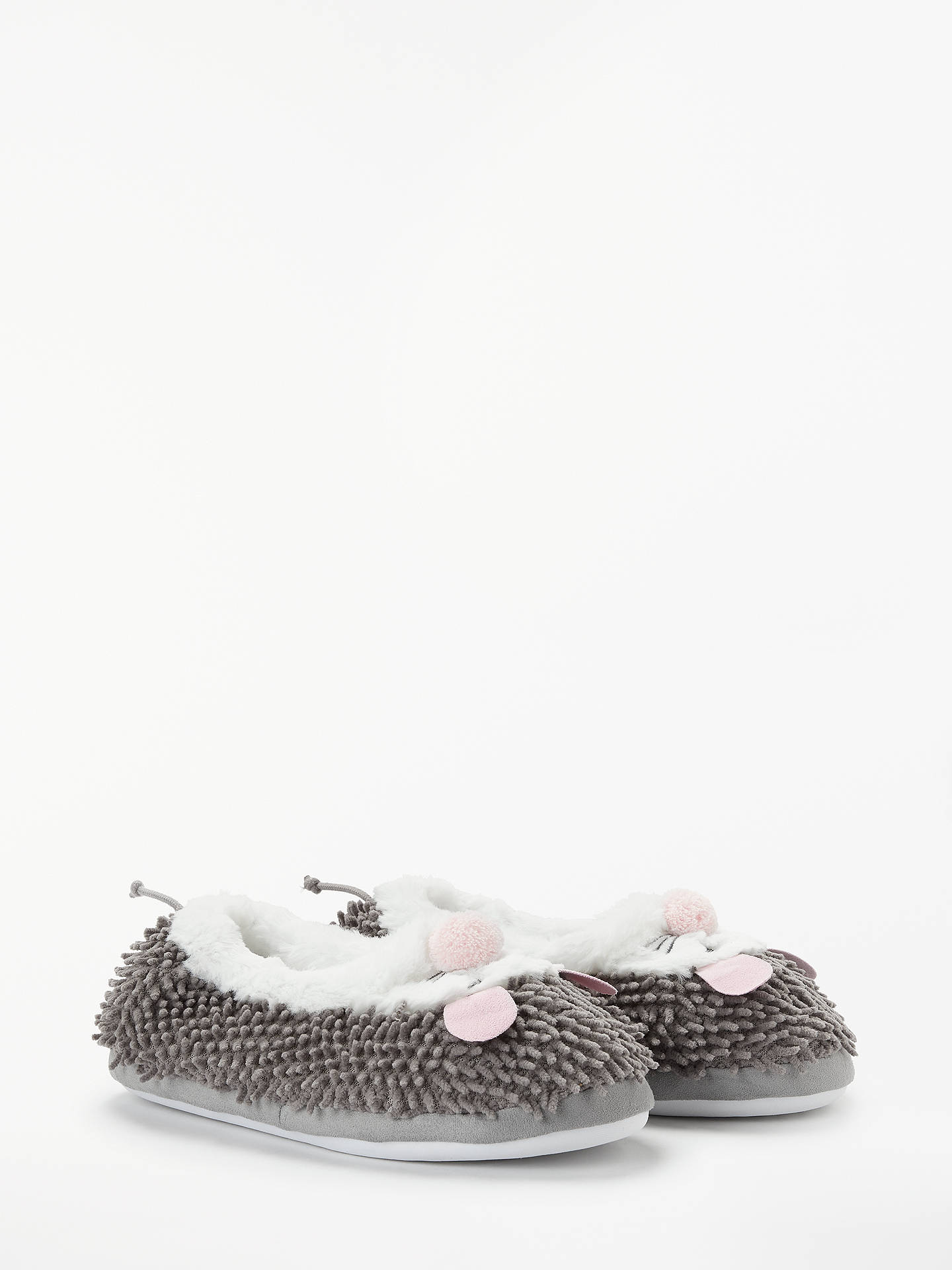 BuyJohn Lewis & Partners Children's Noodle Mouse Closed Back Slippers, Grey, 10 Jnr Online at johnlewis.com