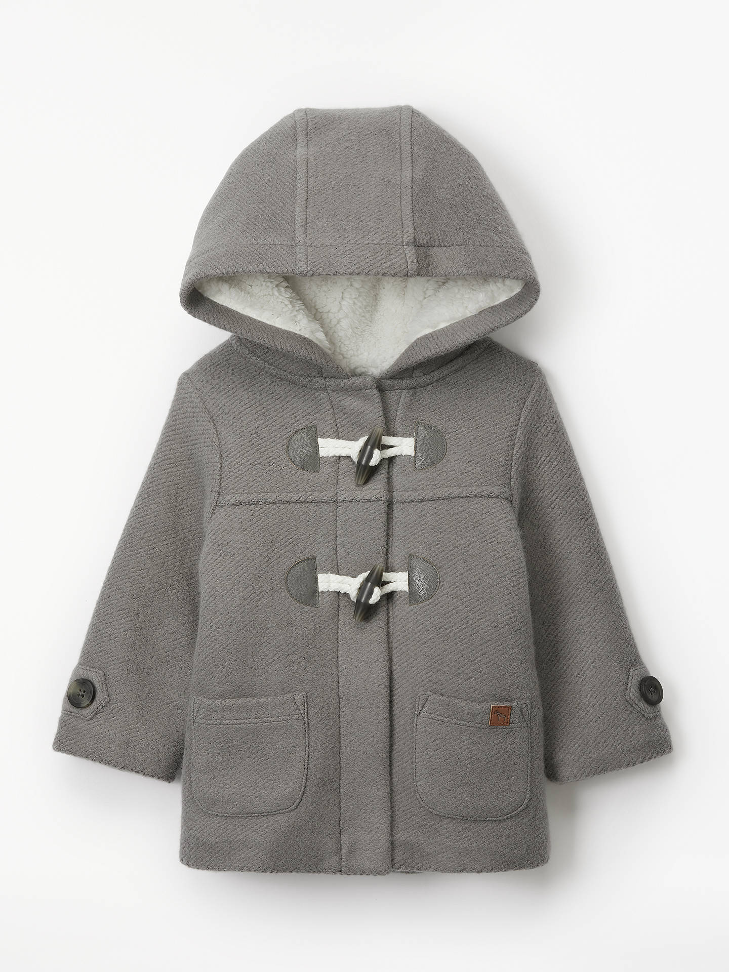 BuyJohn Lewis & Partners Baby Duffle Coat, Charcoal, 3-6 months Online at johnlewis.com