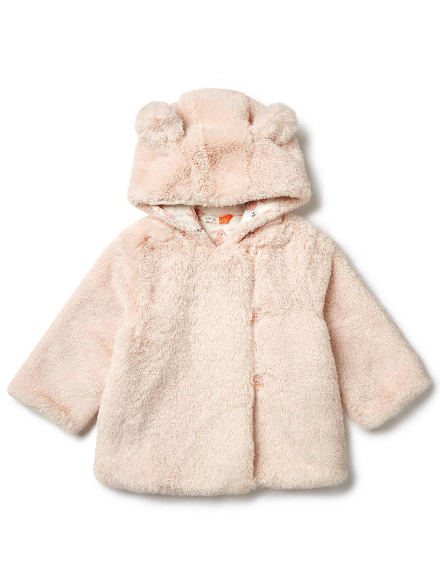 1ccd12b391d John Lewis & Partners Baby Faux Fur Coat, Pink at John Lewis & Partners