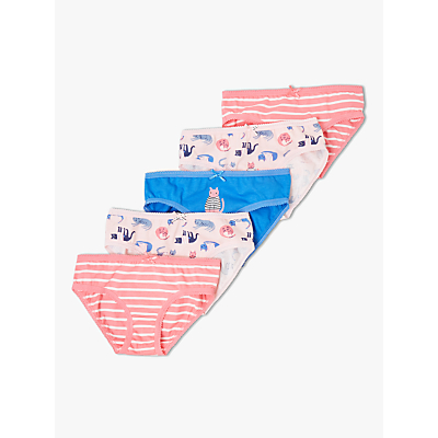 Image of John Lewis & Partners Girls' Cat Briefs, Pack of 5, Pink/Blue