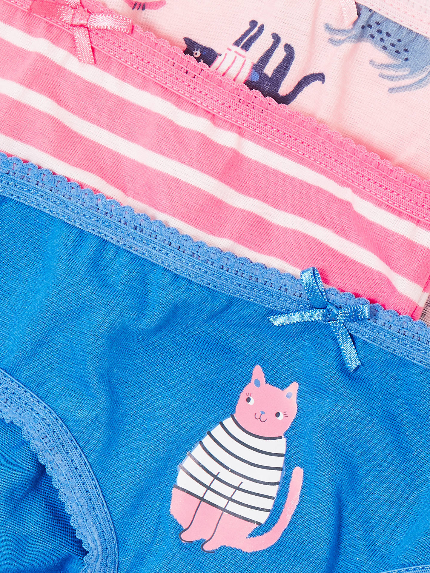 BuyJohn Lewis & Partners Girls' Cat Briefs, Pack of 5, Pink/Blue, 2 years Online at johnlewis.com