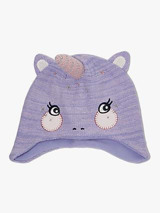 John Lewis & Partners Children's Unicorn Trapper Hat, Purple