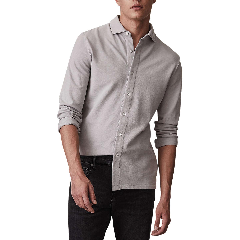 West - Garment Washed Shirt in Soft Grey, Mens, Size XXL Reiss