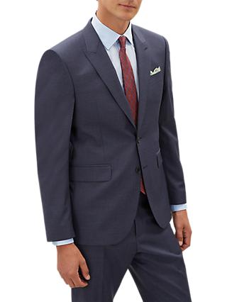Jaeger Fine Textured Weave Suit Jacket, Mid Blue