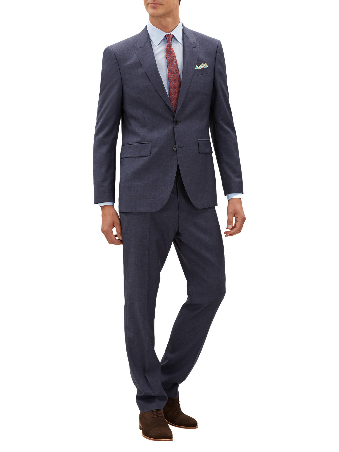 Buy Jaeger Fine Textured Weave Suit Jacket, Mid Blue, 40R Online at johnlewis.com