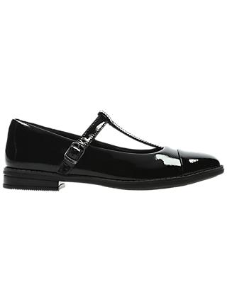Clarks Children's Drew Shine T-bar Shoes, Black Patent