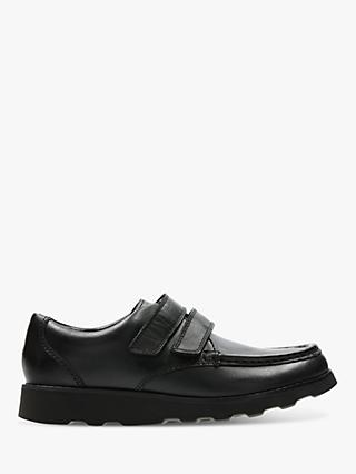 Clarks Children's Crown Tate Leather Double Riptape Shoes, Black