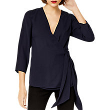 Buy Warehouse Wrap Front Tie Top, Navy Online at johnlewis.com