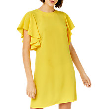 Buy Warehouse Ruffle Sleeve Dress, Yellow Online at johnlewis.com