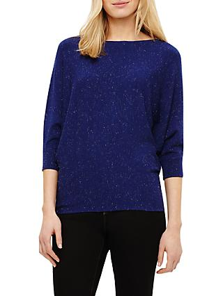 Phase Eight Becca Sparkle Batwing Knit Jumper, Cobalt Blue