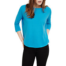 Buy Phase Eight Megg Curve Hem Cotton Jumper, Turquoise Blue Online at johnlewis.com