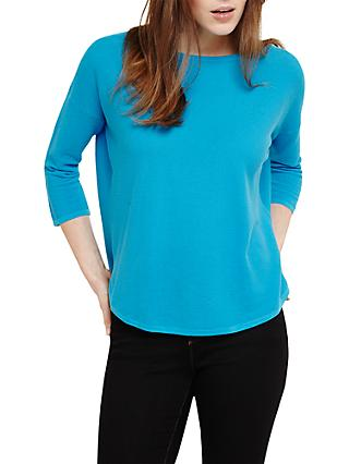 Phase Eight Megg Curve Hem Cotton Jumper, Turquoise Blue