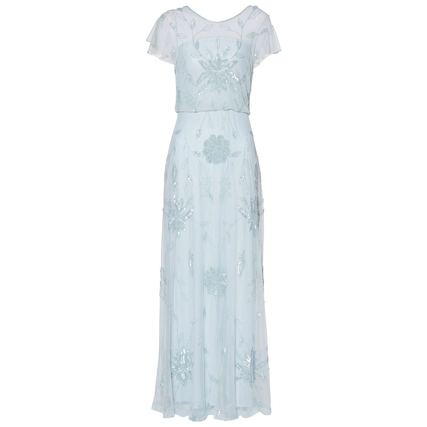 BuyGina Bacconi Niobe Beaded Maxi Dress, Blue Pearl, 8 Online at johnlewis.com
