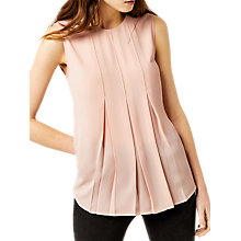 Buy Warehouse Sleeveless Box Pleat Top, Pink Online at johnlewis.com