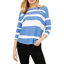 Buy Phase Eight Megg Striped Curve Hem Jumper, Bright Blue/Ivory Online at johnlewis.com