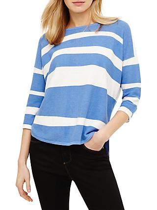 Phase Eight Megg Striped Curve Hem Jumper, Bright Blue/Ivory