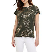 Buy Phase Eight Fanya Cotton Leaf Foil Print Top, Khaki Green Online at johnlewis.com