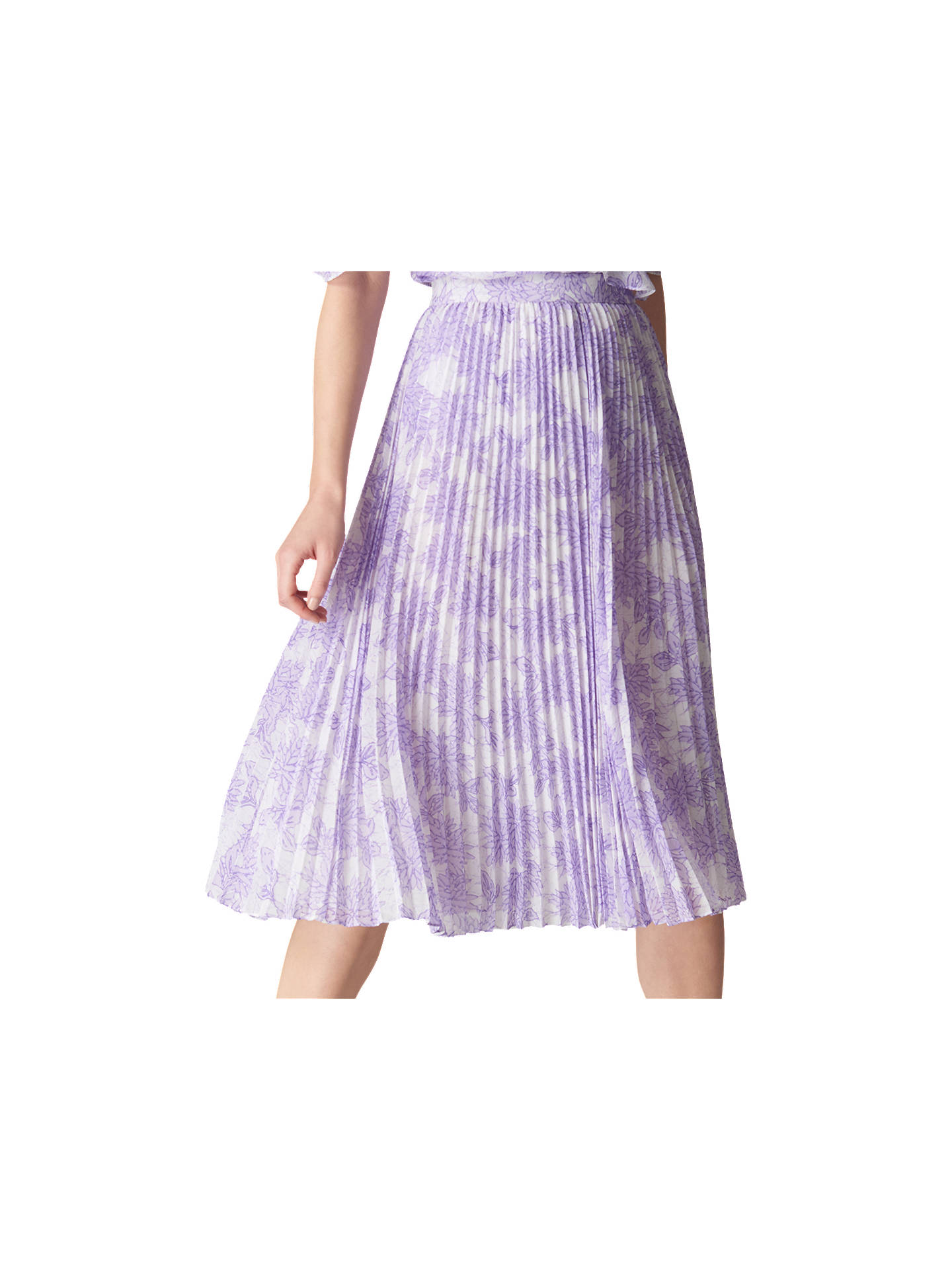 8428e920c92c Buy Whistles Batik Lily Pleated Skirt, Lilac, 6 Online at johnlewis.com ...