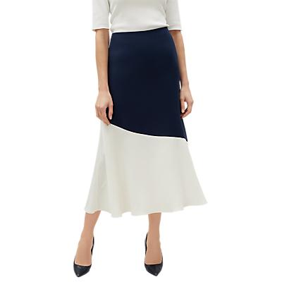 Jaeger Colour Block Flared Skirt, Navy/Cream