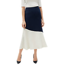 Buy Jaeger Colour Block Flared Skirt, Navy/Cream Online at johnlewis.com