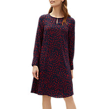 Buy Jaeger Ditsy Print Flare Dress, Navy/Ditsy Online at johnlewis.com