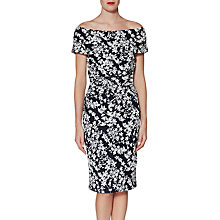 Buy Gina Bacconi Genevive Floral Bardot Dress, Navy/White Online at johnlewis.com