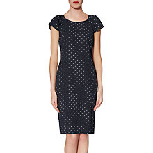 Buy Gina Bacconi Pinspot Crepe Fluted Sleeve Dress, Navy/White Online at johnlewis.com