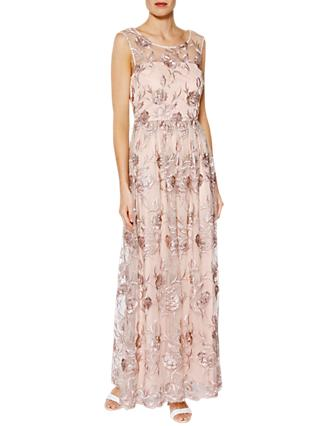 Gina Bacconi Mandy Embroidered Maxi Dress, Pink Gold