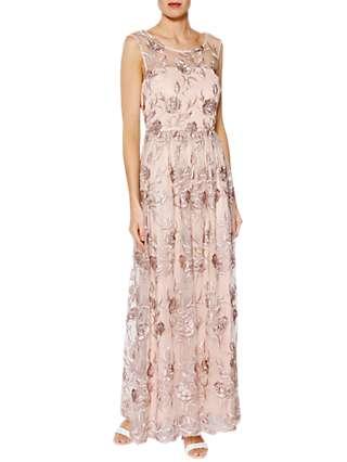 Gina Bacconi Mandy Embroidered Maxi Dress, Pink Gold