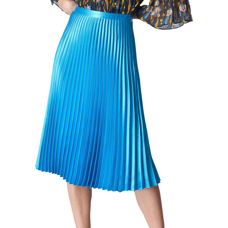 Whistles Satin Pleated Skirt, Turquoise at John Lewis